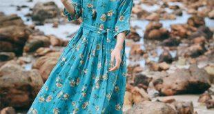Elegant Blue Floral Maxi Dresses Women Summer Casual Linen Clothes. #boho #boho...