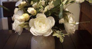 Farmhouse floral arrangement,white floral arrangement,rustic floral arrangement,farmhouse table arrangement,counter top floral arrangement