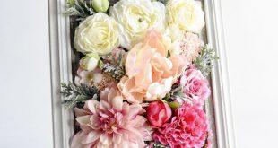 Faux floral-filled frame - flower decor - DIY floral arrangement - make your own...
