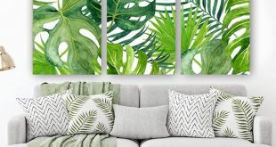 BANANA LEAF Wall Art, Tropical Bedroom Wall Decor Canvas or Prints Palm Watercolor, Floral Green Bathroom Decor, Home Decor, Set of 3