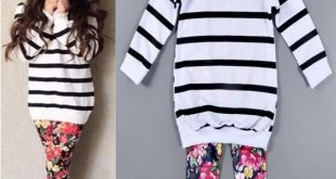 Cute Baby Kids Girls Clothes Stripe T-shirt Tops + Floral Leggings 2pcs Outfit S...