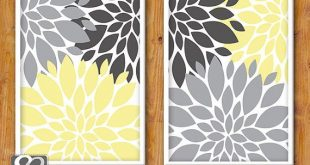 Floral Flower Burst Gray Yellow Set of 2 Wall Baby Decor Bedroom Bathroom 8x10 High Resolution JPG
