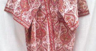 Rich Coral Orange & Rust Paisley Floral Anokhi Hand block print Cotton Boho Chic Long Kimono robe One Size