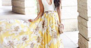Yellow Floral Maxi Skirt $49 - Sunshine & Stilettos Blog (Instagram: Katlyn Maup...