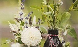 flowers, centerpieces, floral, decor, dahlia, green, lavender, rustic, white, de...