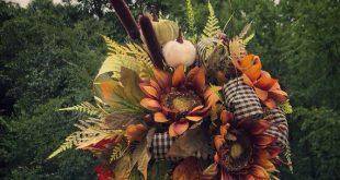 Fall Lantern Swag, Thanksgiving Home Decor, Lantern Floral Arrangement, Sunflowers, Autumn Decorations, Wedding centerpiece, Plaid Ribbon