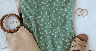 Julita Mint Green Floral Print Mini Dress