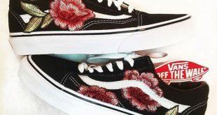 LOW TOP Unisex Custom Rose Floral Embroidered Patch Vans Old-Skool Sneakers