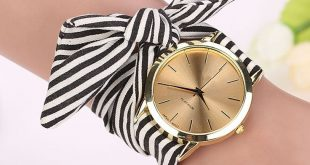 $2.2 - Awesome relogio feminino women watches Stripe Floral Cloth Band Clock Dia...