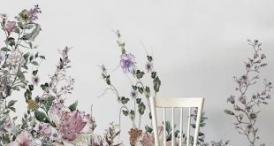 Abnehmbare Tapete - Feld Blumen Wandbilder - abnehmbare Tapete - Wandaufkleber - zeitgenössische Tapete - Aquarell - Aufkleber - Dekor