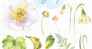 Blumen-Geist. Elemente. Aquarell Blumen, Clipart, violett, Frühling, Licht, Stiefmütterchen, Stiefmütterchen, Vergissmeinnicht, Farn, Hochzeit, Schneeglöckchen, blühen