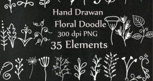"Chalkboard doodle flowers clipart: ""CHALK FLOWERS"" Hand Drawn Flower clipart Chalk foliage Chalk Floral clipart wedding clipart Diy invites"
