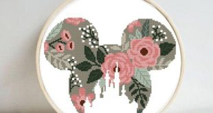 Disney Mikki modern floral castle cross stitch pattern, easy nursery baby girl cross stitch chart, embroidery, flower, baby shower gift, pdf