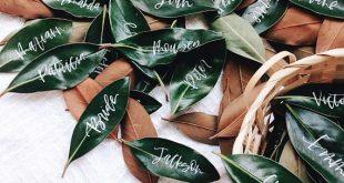Fresh Leaf Wedding Place Card, Floral Wedding Place Card, Summer Escort Card, Leaf Place Card