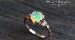 Vintage Floral Ring in Opal, Ethiopian Fire Opal Engagement Ring, Leaf Engagement Ring, Available in 14K Gold, 18K Gold, or Platinum, R2001