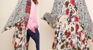Boho Flora Kimono. Plus sizes. Boho chic layering piece. Mixed floral print patc...