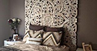 "Decorative Mandala Bed Headboard 47"" Sculpture Lotus Flower Wooden Hand Craved Carving Teak Wood White Art Panel Wall Home Decor Thai Twin"