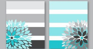 Floral Bursts Big Stripes Art Prints, Ombre Style Modern Home Decor Set of (2) 8 x 10 OR 11 x 14 sizes // Turquoise Grey Art Unframed