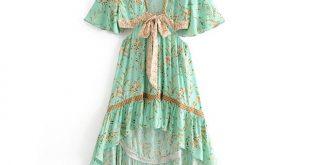 Floral print summer dress boho chic dresses gown highlow hem hippie beach dress women clothes vestidos