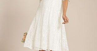 Flossie Umstands Hochzeitskleid kurz (Elfenbein) - Umstandshochzeitskleider, Abendgarderobe und Partykleidung by Tiffany Rose