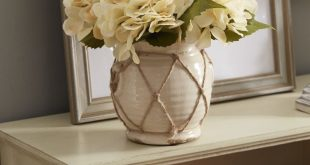 Hydrangea in Distressed Glaze Planter Floral Arrangement
