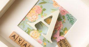 Neues Baby Geschenk, personalisierte Box Frame, Taufe Andenken, Geschenk für sie, Pink Blue Floral, Baby Nursery, erstes Bild, Schmetterling