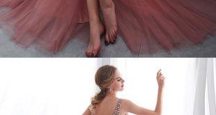 Pink Long Prom Dresses V Neck Beading Evening Party Dresses for Women