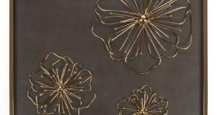 "Set of 2 - Flowers Metal Wall Art, 21"" sq x 2""D Décor – Large 3D Floral Decorative Accent Bedroom, K"