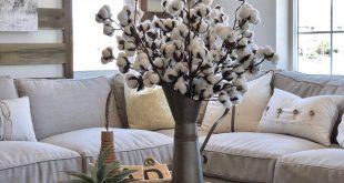 "3 Extra Large 30"" Cotton Sprigs - Rustic Farmhouse Wedding Design Magnolia Floral Arrangements Preserved"