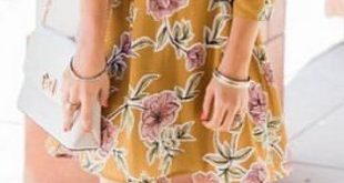 Amazing Spring Fashion Outfit Ideas featuring A Cute Mustard Floral Dress. Foll...