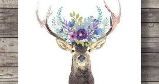 Aquarell Hirsch Blume Girlande druckbare Kunst Pfingstrose Blume Krone floral druckbare Reh Hirsch Geweih Wald Dekor sofortigen download
