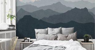 Berg Wandbild Tapete, grau, Marine, blass rosa, Berg Extra große Wandkunst, schälen und Stick Wandposter