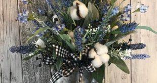 Blueberry Farmhouse Floral Arrangement with Cotton Stems - blueberry arrangement - year round arrangement- primitive floral- farmhouse decor