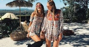Boho Hippie Patchwork Lace Floral Print Autumn Dress