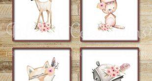 Boho Wald Tiere / Wald Kindergarten druckbare / 8 x 10 Drucke Set / Baby Mädchen Kinderzimmer Dekor / erröten / rosa / Boho / Schlafzimmer Wandkunst