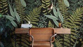 Botanische Tapete, Farne Tapete, Wandbild, grün Wohnkultur, pflanzliche Dekorationen, einfach zu installieren Wandtattoo, abnehmbare Wallpaper B008