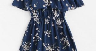 Cold Shoulder Floral Print Tiered Dress -ROMWE