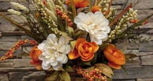 Fall Floral Arrangement Thanksgiving Centerpiece Harvest Arrangement with Orange and White Flowers Grasses Berries Basket