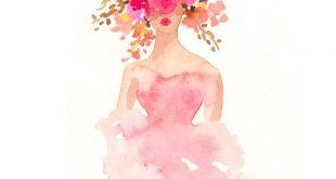 Fashion Illustration Print - Watercolor Fashion Sketch - Flower Crown - Home Decor - Couture - Floral Print - Pastels by Rhian Awni on