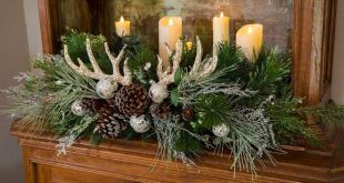 For Christmas arrangements that are festive and rustic, gather floral picks, orn...