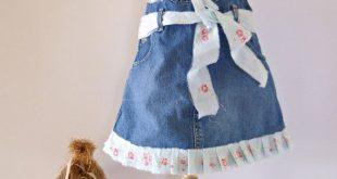 Girls Denim Jumper. Shabby Eco Chic Dress. Rustic Refashioned Play Clothes. Boho...
