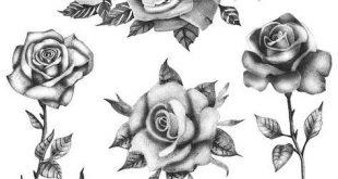 Rosen Blumen-Set (Set von 6) - temporäre Tattoo / realistische Rosen Tattoo / Rosen Tattoo / Blumen Tattoo / schwarze Rosen/temporäre Tattoo Floral