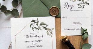 Rustikale botanische Hochzeits-Einladung, Grün - Liebe des Herstellens von Design Co