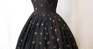 Sweet 1950s black pique cotton new look day dress with red rose buds - #1950s #b...