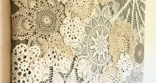 This one of a kind doily collage will add vintage charm to your home! Made with