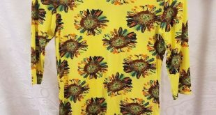 Top Tee T-Shirt Lola Teen Girls Clothing Yellow Color Floral Size 14 Vintage #f...