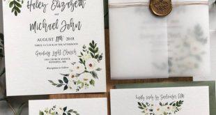 Vellum Wedding Invitations Floral, White Flower Wedding Invitations with Vellum Wrap, Watercolor Greenery Wedding Invitation Suite Printed