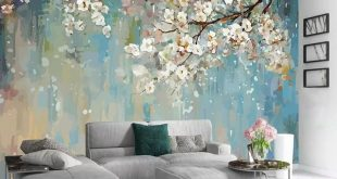 Watercolor White Flowers Textile Wallpaper Trees of Blossom Wall Murals Watercolor Paint Art for Living Room Bedroom Kitchen Entryway